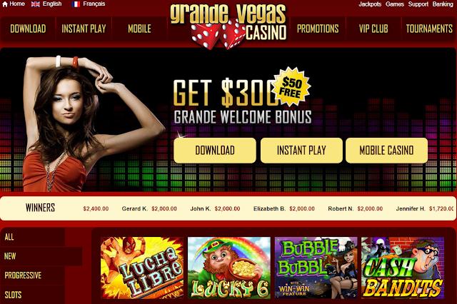 Grande Vegas Casino Homepage