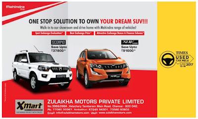 zulaikha motors private limited chennai Mahindra Scorpio xlu