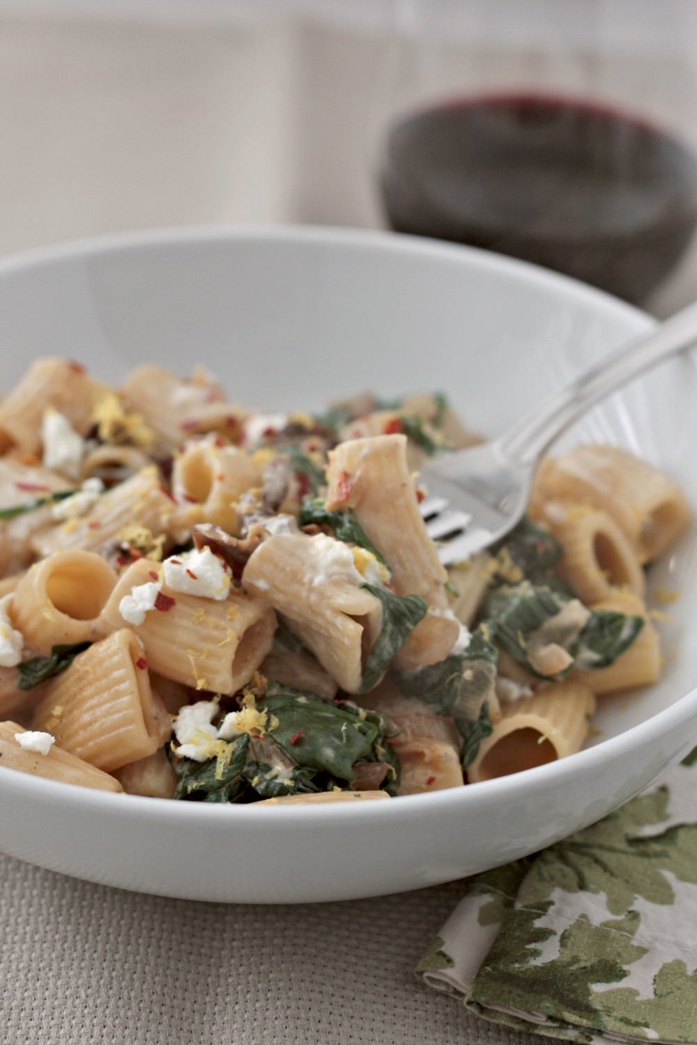 spinach goat cheese pasta
