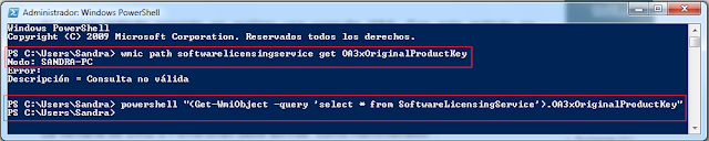 "powershell ""(Get-WmiObject -query 'select * from SoftwareLicensingService').OA3xOriginal"
