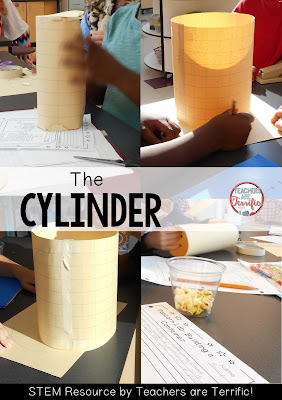 STEM Challenge: Build a container for popcorn! This group chose a cylinder shape! More on this blog post!