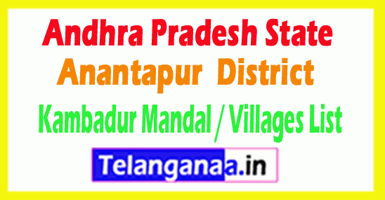 Kambadur Mandal Villages Codes Anantapur District Andhra Pradesh State India