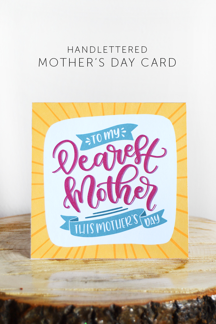 mothers day card free printable handlettered
