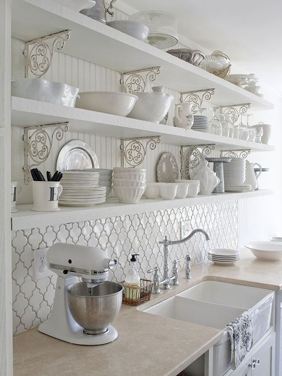 White Shabby Chic Kitchen Wall Shelves