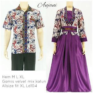 batik pasangan sarimbit gamis anjani ungu