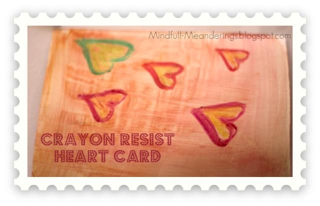 Crayon Resist Heart Card