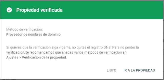 propiedad verificada en Google Search Console