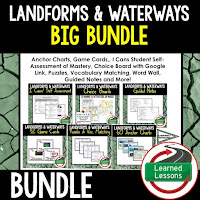 Landforms and Waterways, EARTH SCIENCE MEGA BUNDLE, Earth Science Curriculum, Anchor Charts, Game Cards, Puzzles, Vocabulary Activities, Choice Boards, Digital Interactive Notebooks, Word Walls, Picture Puzzles, Test Prep