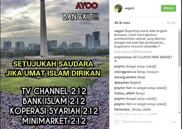 AA Gym Akan Dirikan TV 212, Koperasi Syariah 212, Minimarket 212, Bank 212, Tanggapan Netizen Luar Biasa
