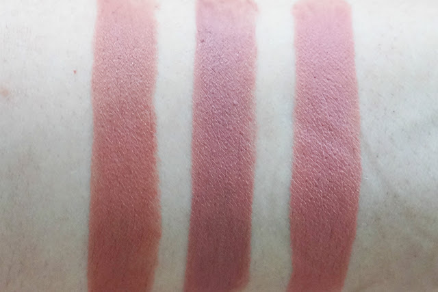 Comparison: (L-R) Maybelline Clay Crush, MAC Velvet Teddy, MAC Kinda Sexy swatches