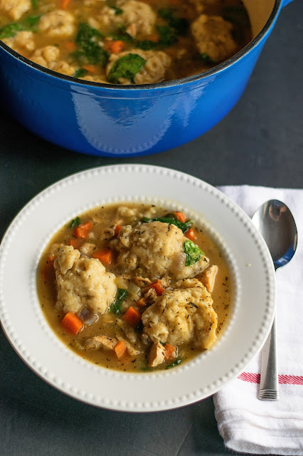 A finished bowl of Chicken and Drop Dumplings.