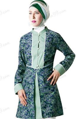 model atasan batik wanita muslimah gaya masa kini