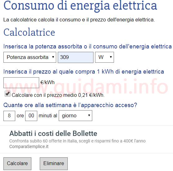 Sito web Consumo di energia elettrica