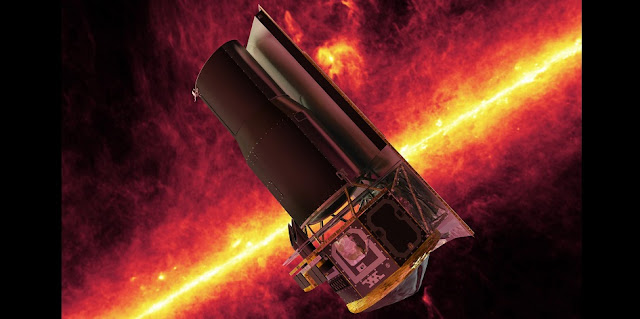 This image shows an artist's impression of the Spitzer Space Telescope. The background shows an infrared image from Spitzer of the plane of the Milky Way galaxy. Image credit: NASA/JPL