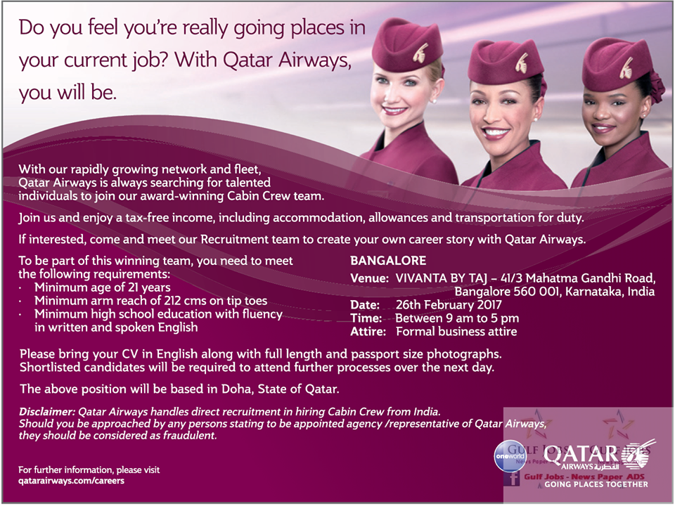 Qatar Airways Job Opportunities - Gulf Jobs for Malayalees