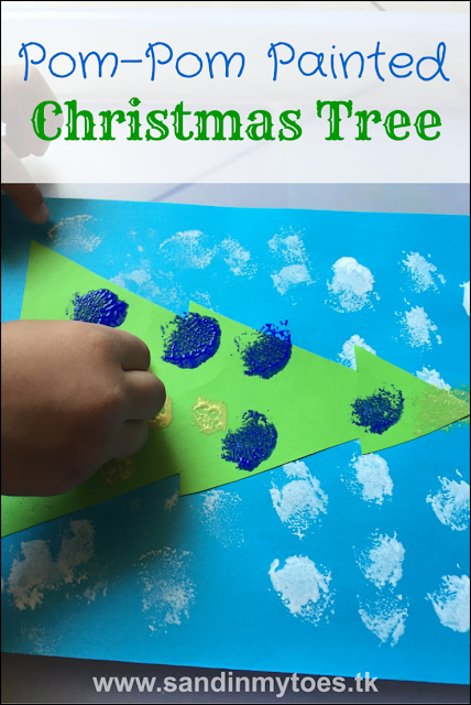Cute and easy festive craft for kids - paint a Christmas tree with pom poms!