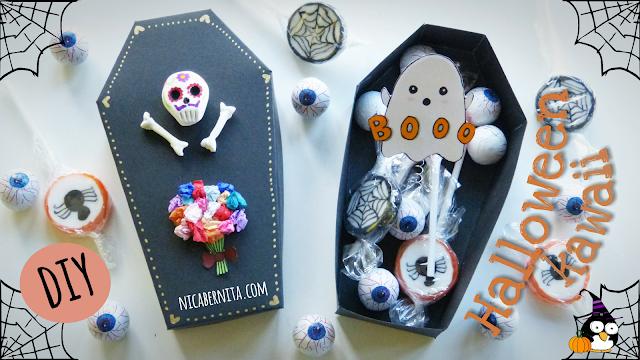 DIY caja de cartulina con forma de ataúd. Caja de regalo, caja para dulces. Especial Halloween (Nica Bernita)