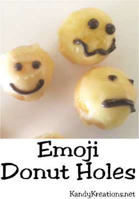 Add a little smile to your day with these Emoji Donut Holes.  These smiley face emoticons are a perfect addition to your brunch or Emoji party.  They only take a few steps if you purchase premade donut holes, or are quick and easy if you make your own using the recipe provided.