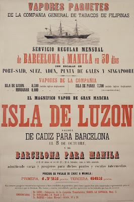 Cartel publicitario del vapor Barcelona-Manila de la Compañía General de Tabacos de Filipinas