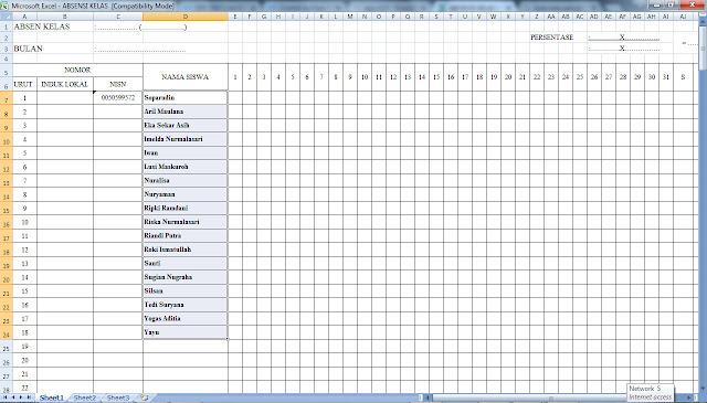Aplikasi Absensi Kelas Manual Terbaru Semua Jenjang Format Microsoft Excel