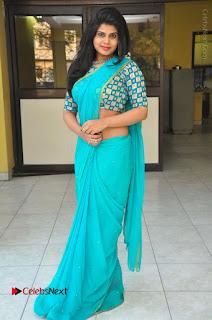 Telugu Actress Alekhya Stills in Green Saree at Swachh Hyderabad Cricket Press Meet  0102.JPG