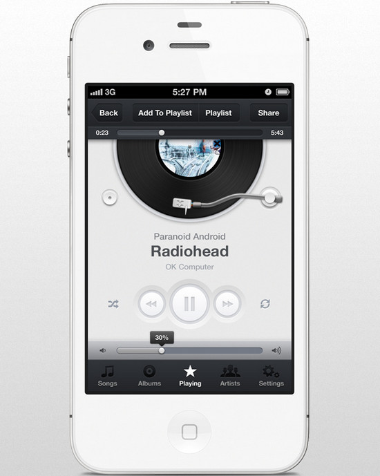 Music skin App UI for iphone