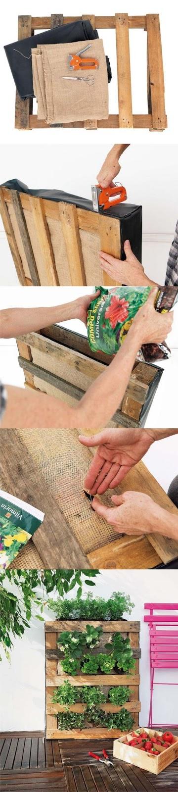 como hacer un jardin vertical con palets de madera