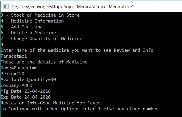 Medical Store Management Project in C output