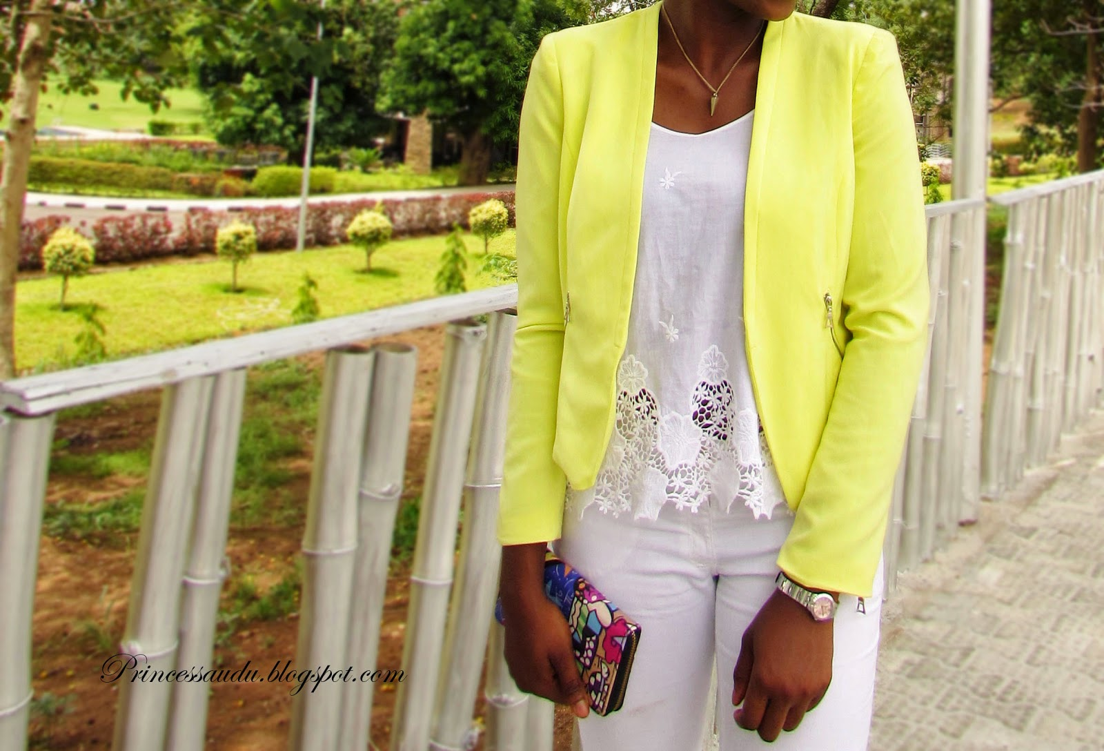 lace, white denim, jeans, yellow blazer, ankle strap heels