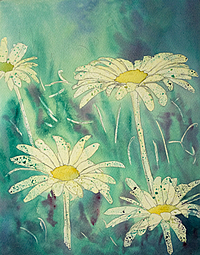 Wild Daisies – Watercolor Painting – Step 2