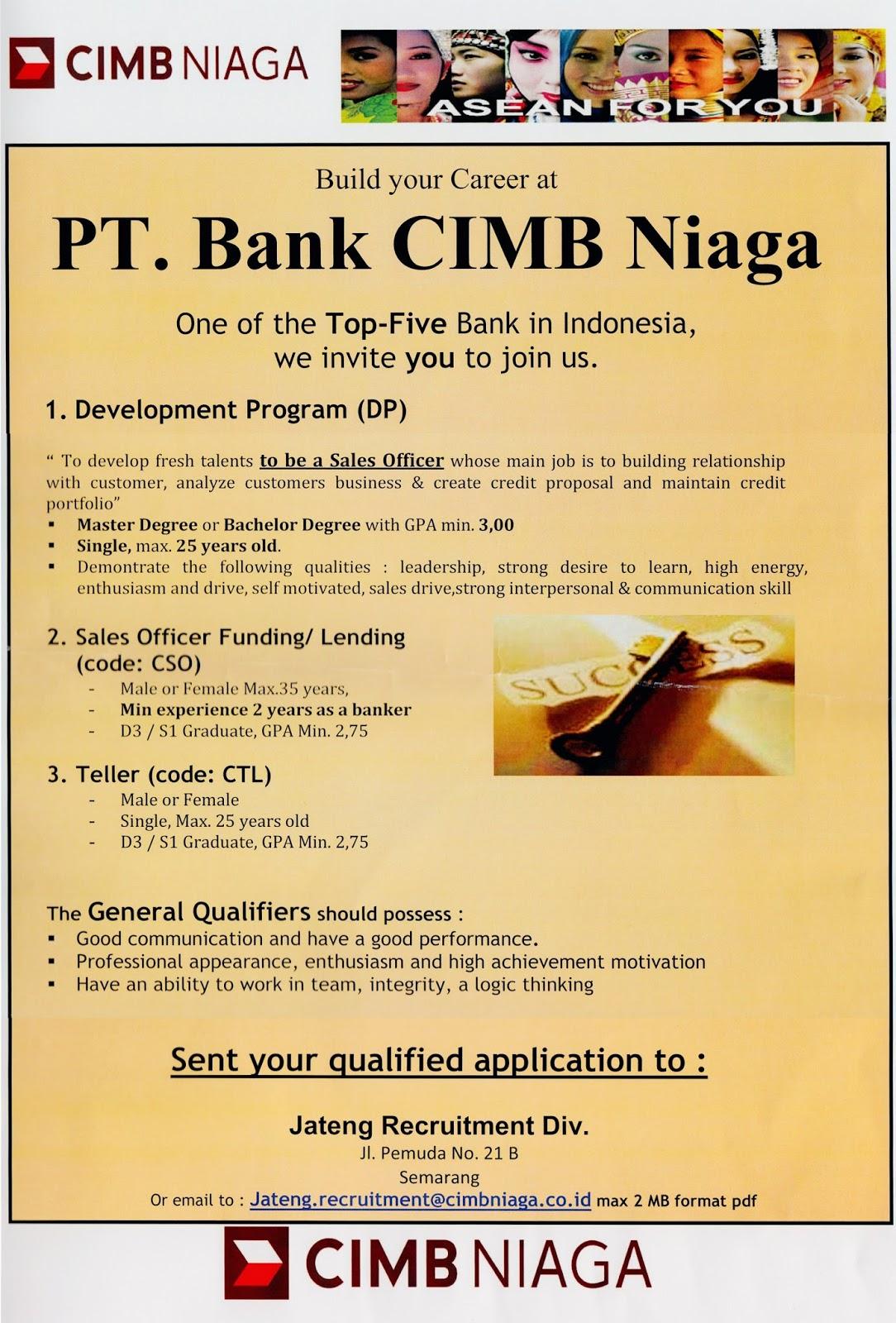 Lowongan Kerja Bank Cimb Niaga 2016