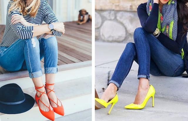 Consultoria de imagem - style it - sapatos coloridos - Dois looks com calças de ganda e blusa básica enriquecidos com uns lace up vermelhos e uns pumps amarelos