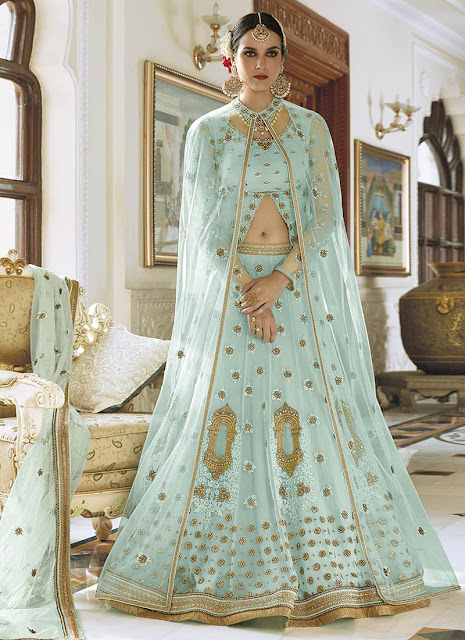 Light Blue Lehenga With Golden Work - Inspiration