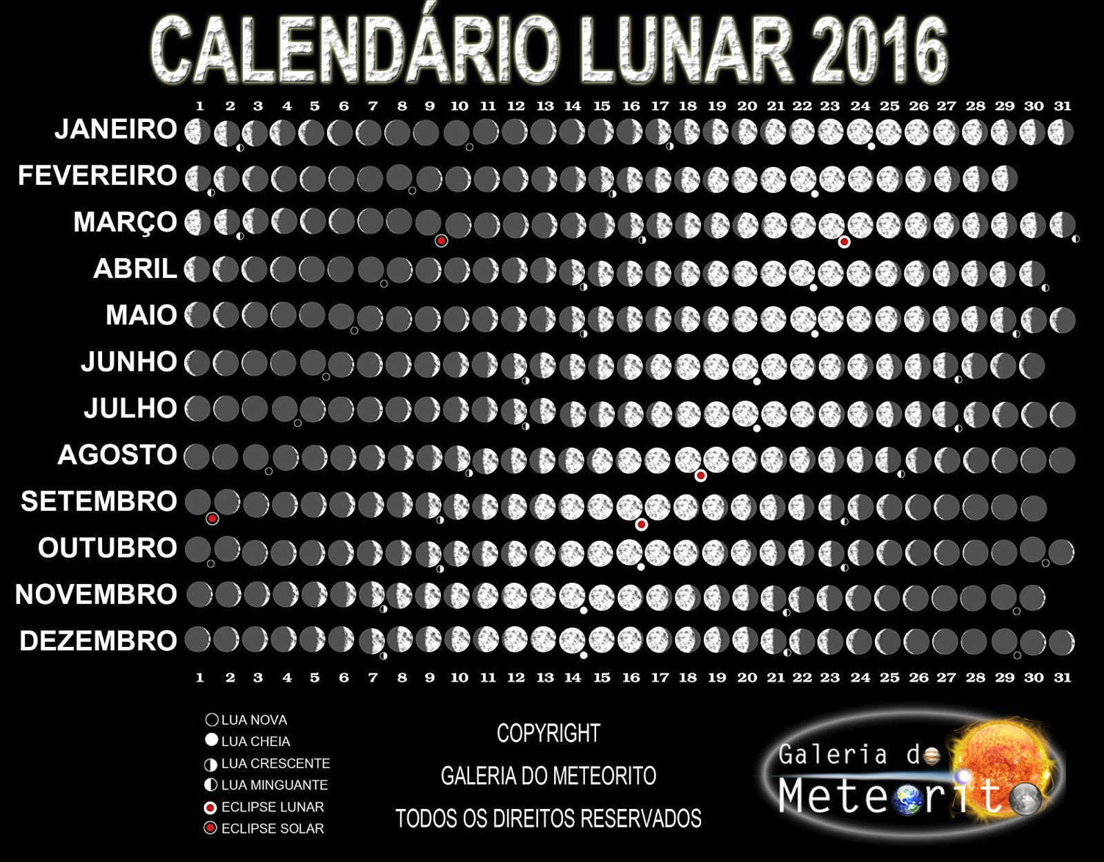 Calend rio lunar galeria do meteorito for Calendario de luna creciente 2016