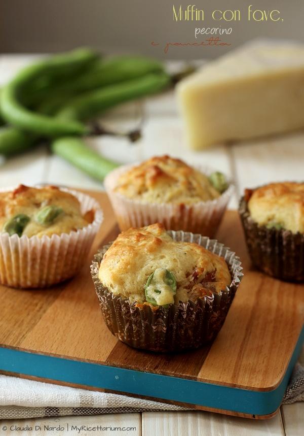 Muffin con fave, pecorino e pancetta