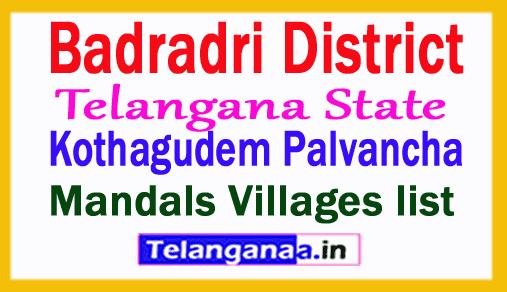 Kothagudem Palvancha Mandal Villages in Badradri Kothagudem District Telangana