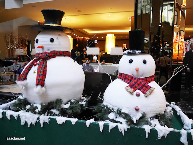 Snowman at the hotel's lobby