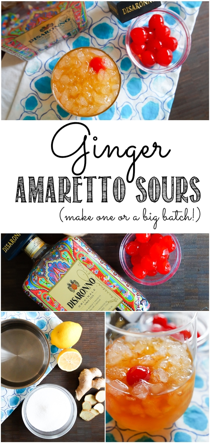 Ginger Amaretto Sours, cocktail for one or for a crowd. Make-ahead or drink right away!