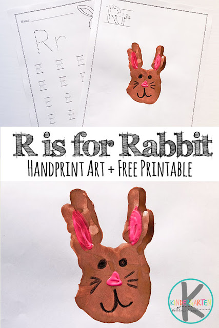 Letter R worksheets and hand art - r is for rabbit