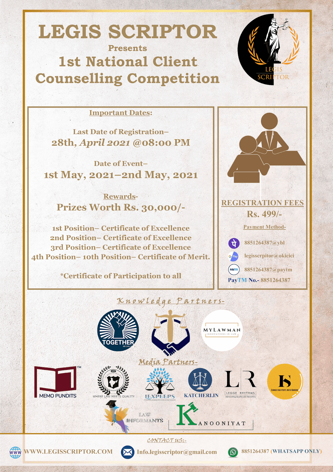 Register for 1st National Client Counselling Competition by Legis Scriptor by 28 April 2021