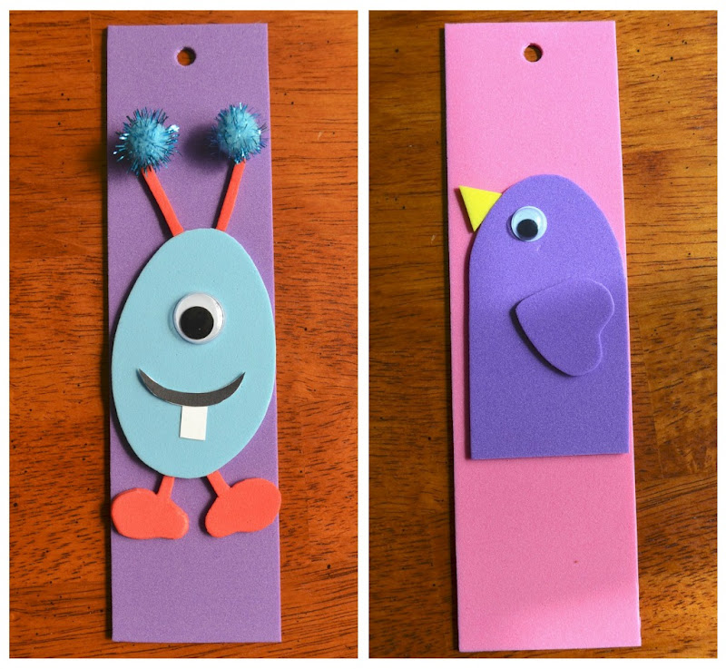 East coast mommy ecm kid 39 s craft club 2 foam bookmarks for How to tie a ribbon on a bookmark