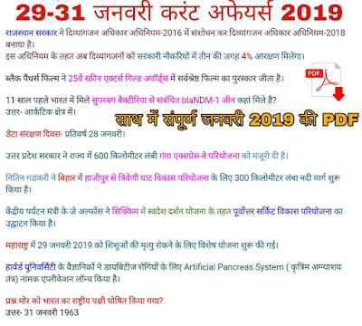 January Current Affairs in Hindi