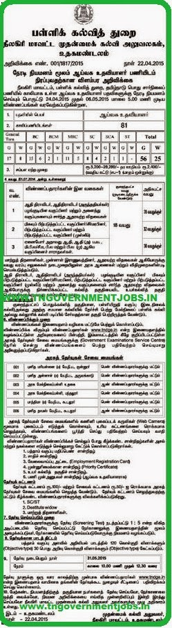The Nilgiris DEO Notification for Lab Assistant Recruitment (www.tngovernmentjobs.in)
