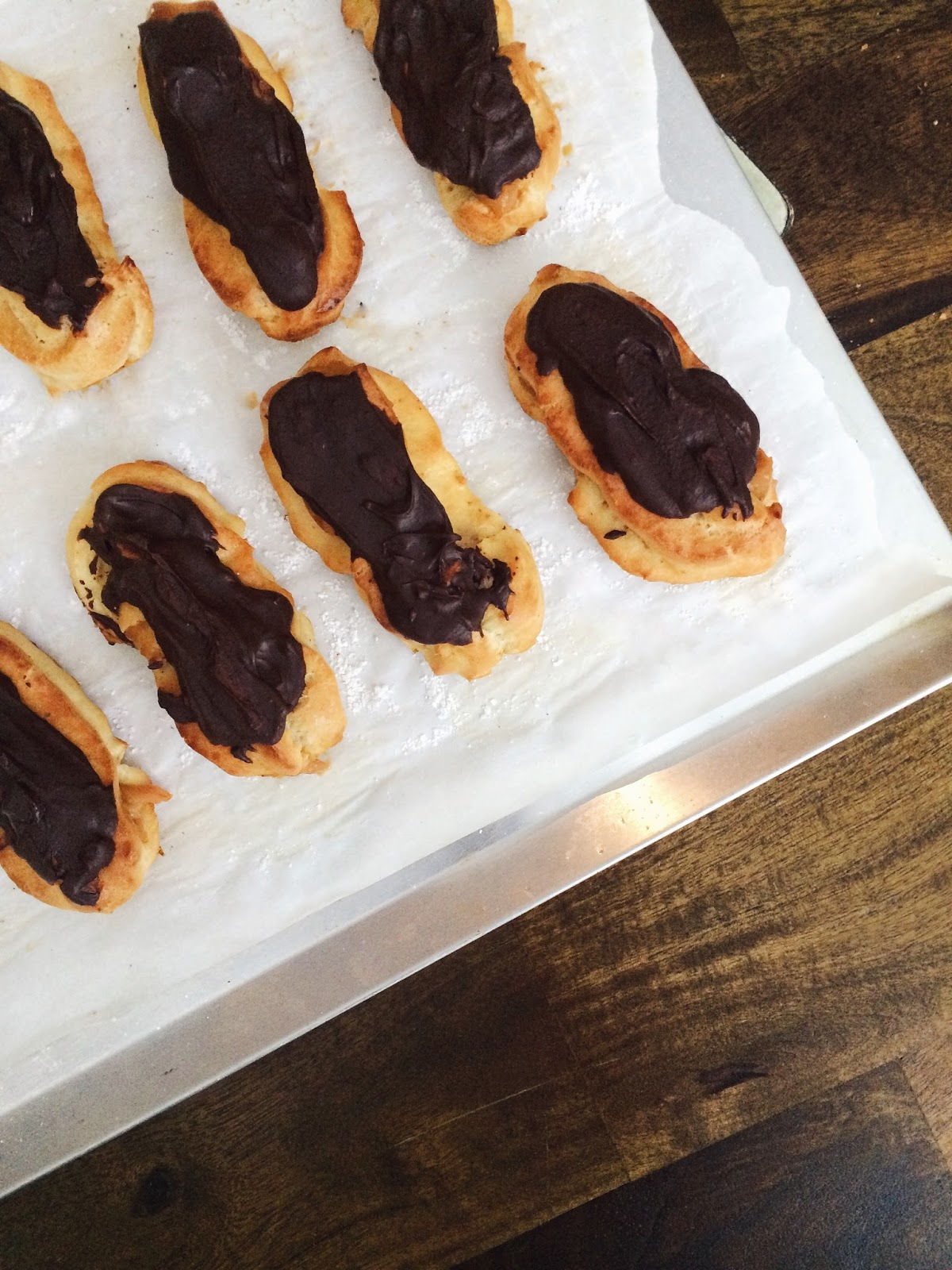 salted caramel chocolate eclairs