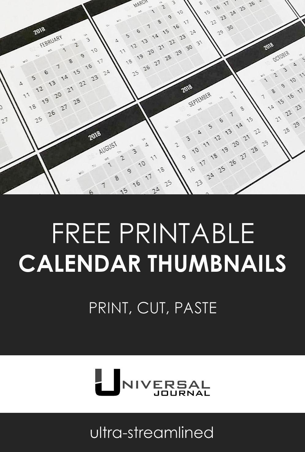 free calendar thumbnail printouts for bullet journal