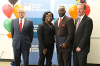 John Larkin, Senior Partener with ESC of Greater Ohio, recently attended Goldman Sachs 10,000 Small Businesses class along with 36 other entrepreneurs. In the picture from left to right are pictured Joseph Gross (Executive Dir, 10K small business) Dr. Martina Moore (Keynote Speaker) President, Moore Counseling & Mediation Services, John Larkin with  ESC, and Larry Polena (Lead Faculty).