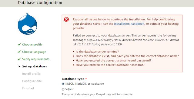error database konfigurasi drupal di hosting gratisan