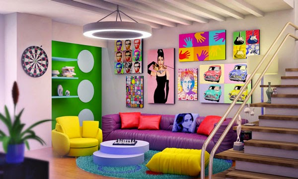 Living Room Design and Ombre Hair Ideas: Colorful Living ...