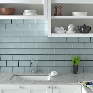 Duck Egg Blue Kitchen Wall Tiles