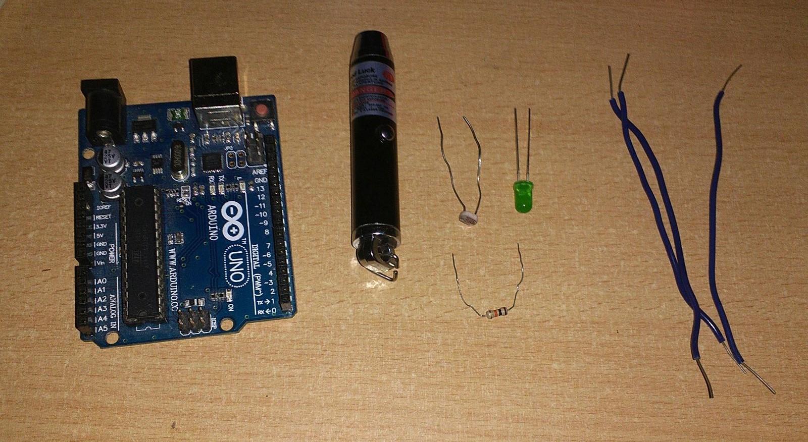 Laser Alarm Arduino Uno Photoresistor Resistor Kilo Ohm Or Wires Ide Software Buzzer Led